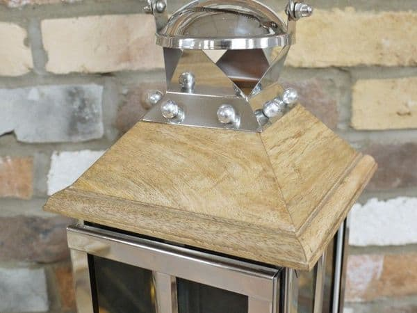 Large Silver Wooden Candle Lantern